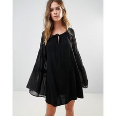 Lunik Bell Sleeve Tunic Dress (53 CAD) ❤ liked on Polyvore featuring dresses, black, scoop-neck dresses, scoop neckline dress, flared sleeve dress, lightweight dresses and loose dress