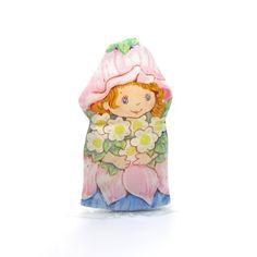 Little Blossom Finger Puppet Vintage Avon Pink Cloth Flower Fairy Girl