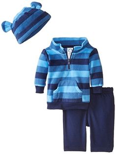Mock neck, half-zip shirt styling for easy on/off dressing Pants feature a gentle elastic waistband for comfort Adjustable cuff on cap Gerber Baby Boys' 3 Piece Micro Fleece Top Cap and Pant Set