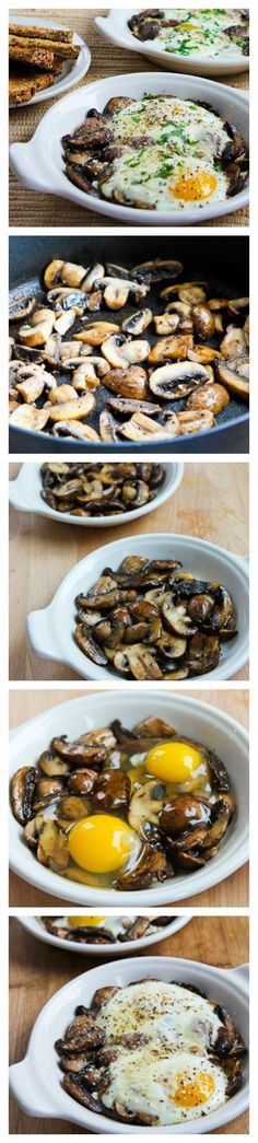 Baked Eggs with Mushrooms and Parmesan. Skip the cheese for whole 30. Low-Carb and Gluten-Free breakfast. [found on KalynsKitchen.com]
