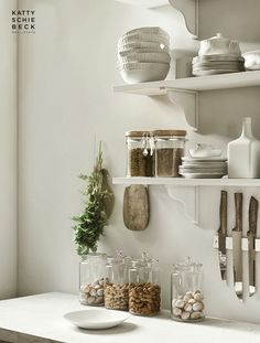 kitchen vignette in greys, whites and creams