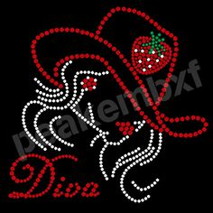 Bling Strawberry Diva Rhinestone Transfers Iron On For Apparel