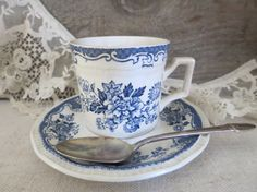 Antique Ironstone Cup and Saucer Blue and White by WrensAttic