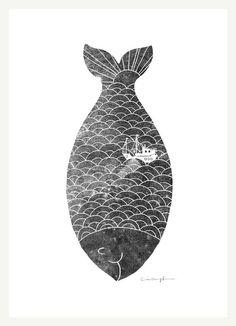 Illustration / Fishing in a fish Print by ilovedoodle on Etsy Art Et Illustration, Fish Print, Nature Tattoos, Grafik Design, Art Design, Fish Design, Art Plastique, Mail Art, Printmaking