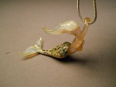 Mermaid blown glass jewelry pendant by Glassnfire on Etsy, $46.00