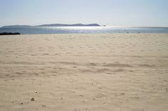 La Lanzada beach with Ons island at the end, O Grove, Pontevedra - Spain
