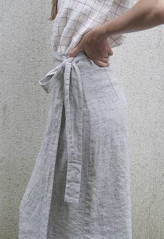 Neu Natürliche Leinen Rock mit Tasche leicht grau Leinen