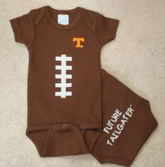 Get your little Tennessee Volunteer fan ready for football season with our Future Tailgater Football onesie, $16.99