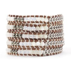 White Mix Chain Wrap Bracelet on Natural Brown Leather - Chan Luu