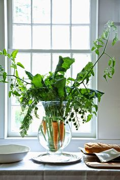 Karin Lidbeck: A New Twist On Your Summer Bouquet-- Gorgeous way to showcase veggies AND have a fun centerpiece