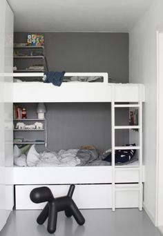 Ideal for narrow spaces. Could flank left wall with floor to ceiling dressers. Allows storage for toys, books, extra blankets, winter wear etc