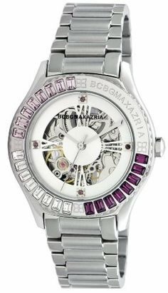 BCBGMAXAZRIA Women's BG8254 Analog Vintage Silver White Skeleton Dial Watch BCBGMAXAZRIA. $225.00. 3-hand automatic Japanese-Quartz movement. Solid stainless steel case and caseback. Limited lifetime warranty. Water-resistant to 165 feet (50 M). High grade sold stainless steel bracelet