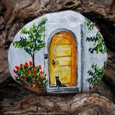 Mor sumbullu kapi onu istiyorum Leylaklardan labirent Kucak dolusu karanfil Vazoda mimoza istiyorum #art #artist #drawing #illustration #tasboyama #rockpainting #olddoor