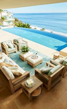 Incredible Infinity Pool Design Ideas You Will Like - Traumhaus / dream home / c. Beach Cottage Style, Beach House Decor, Cottage Art, House On The Beach, Malibu Beach House, Pool Furniture, Outdoor Furniture Sets, Furniture Ideas, House Furniture