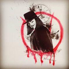 """#remember remember the #5th of Novembre #vforvendetta #sketch #sketchtattoo #trashpolka #trashpolkatattoo #tattoo #tattooart #instagramart #instagramart…"""