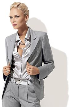 Online Shop Custom Fashion Light Grey Women Tuxedos Peaked Lapel Suits For Women Two Button Business Women Suits Suit Fashion, Grey Fashion, Womens Fashion, Business Fashion, Business Women, Girl Tuxedo, Women Tuxedo, Tuxedo Suit, Tuxedo Jacket