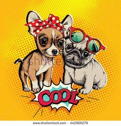 Pop art comic poster with the image of a Puppies Chihuahua and a Pug. Vector illustration.