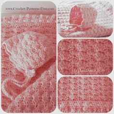 Free Crochet Baby Blanket Pattern in Shell Stitch -baby bonnet pattern-free…