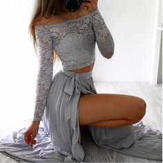 Chiffon and Lace Off Shoulder Two Piece Dress
