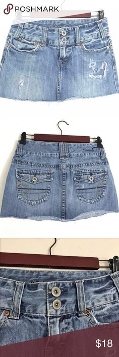 Women's Clothing 2019 Fashion American Eagle Womens 2 Faux Denim Skirt Skater Circle 100% Cotton Threaded Girl Matching In Colour