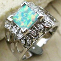 For Sale: White Fire Opal Silver Gemstone Ring