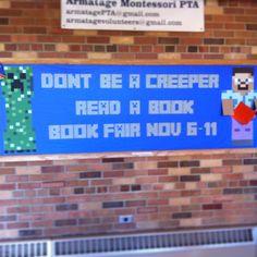School bulletin board. Minecraft theme for a book fair.