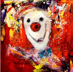 Marianne Aulie Clown Images, Clowns, Beautiful Paintings, Norway, Fine Art, Texture, Abstract, Canvas, Heart