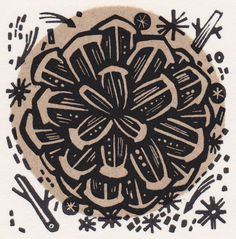 """Angie Lewin """"Cone"""" wood engraving http://www.angielewin.co.uk/products/cone"""