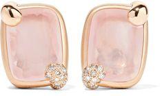 Pomellato - Ritratto 18-karat Rose Gold, Quartz And Diamond Clip Earrings