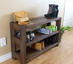 Are you looking for inspiring shoe rack ideas to help organize your front entryway? This list highlights 13 shoe rack ideas to tame the shoe chaos. 3 Shelf Shoe Rack, Wall Shoe Rack, Shoe Rack Closet, Diy Shoe Rack, Shoe Shelves, Entryway Shoe Rack, Floating Shelves, Rustic Shoe Rack, Wooden Shoe Racks