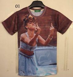 [ Magie ] Europe et en amérique populaire rihanna impression rose belle 3D t-shirt femmes casual 3D t-shirt T182-T189 taille m - xxl livraison gratuite