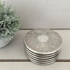 Silver Plate Coasters -Set of Six, Made in England, 1960's Coaster Set, Vintage Barware