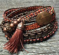 Four-wrap, copper-tone boho bracelet with vintage repro chain and african trade beads by CrosslakeArtisans on Etsy