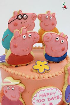 Peppa Pig Family Cake for 100 Days Celebration Icing cookies decoration