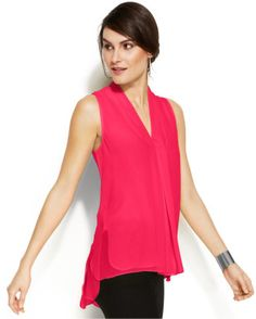 Vince Camuto Sleeveless Invertedpleat Blouse in Pink