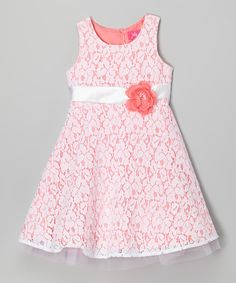 47cc40c06d Look at this Zunie  amp  Pinky Coral Lace A-Line Dress - Girls on