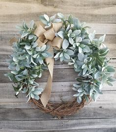 Lambs Ear Greenery Wreath – Wreath Great for All Year Round – Everyday Burlap Wreath, Door Wreath, Wedding Wreath – Grapevine Wreath İdeas. Wreath Crafts, Diy Wreath, Grapevine Wreath, Burlap Wreath, Front Door Decor, Wreaths For Front Door, Door Wreaths, Front Porch, Front Doors