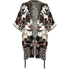 River Island Black floral print tie front kimono jacket ($70) ❤ liked on Polyvore featuring outerwear, jackets, accessories, black, capes / ponchos, women, floral print kimono, flower print jacket, black kimono and black floral kimono