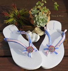 White Flip Flops with pink and light purple satin ribbon hand wrapper. Visit us at www.facebook.com/yarnandwire