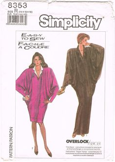 Simplicity 8353 - Vintage 1980s Sewing Pattern - Size 14/16/18 - Misses' Very Loose-Fitting Dress In Two Lengths