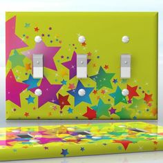 DIY Do It Yourself Home Decor - Easy to apply wall plate wraps   Star Fireworks Multicolor stars on yellow wallplate skin sticker for 3 Gang Toggle LightSwitch   On SALE now only $5.95