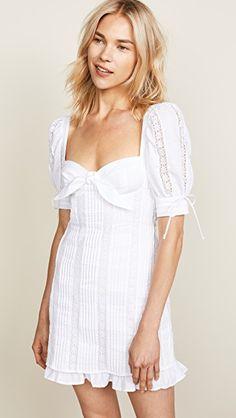 e6bc556dcb47 For Love & Lemons Virginia Mini Dress Pretty White Dresses, White Mini Dress,  China