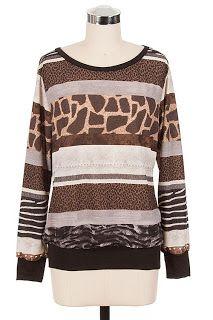 Mixed Animal Print Sweater