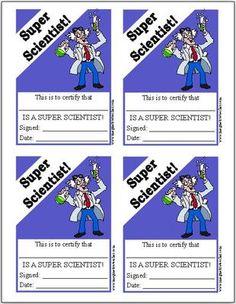 FREE Super Scientist certificates