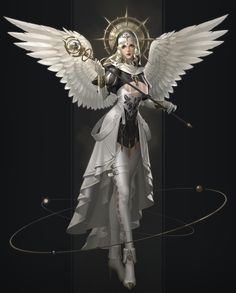 Beautiful Science Fiction, Fantasy and Horror art from all over the world. Fantasy Character Design, Character Art, Fantasy Characters, Female Characters, Pathfinder Character, Angel And Devil, Fantasy Armor, Angel Art, Fantasy Girl