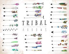 Tribal Arrows Clipart: 35 hand drawn arrow graphics, PNG & JPG, boho, diy elements, doodle clip art, native clipart, unique aztec clipart