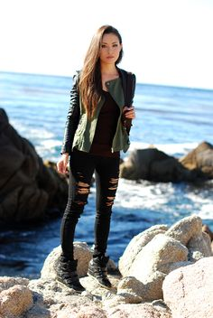 distressed black jeans + utility/moto jacket w/ leather sleeves + wedge sneakers