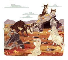 Illustrations for a short story about a fox and a wolf.