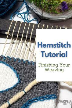 Weaving Loom Diy, Weaving Art, Tapestry Weaving, Hem Stitch, Weaving Projects, Weaving Techniques, Art School, Fiber Art, Crafty