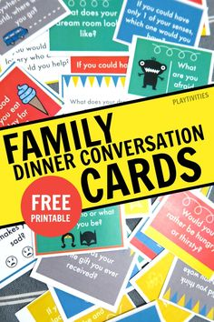 Reimagined Mealtime with Family Conversation Starter Cards These family conversation starter cards will make your family meals extra special. Family Guy, Family Games, Games For Kids, Activities For Kids, Family Meals, Listening Activities, Christmas Activities, Educational Activities, Family Life